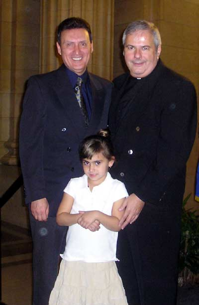 Basil Russo with Fr. Martin Polito, from Holy Redeemer Church (Collinwood) and Basil's granddaughter