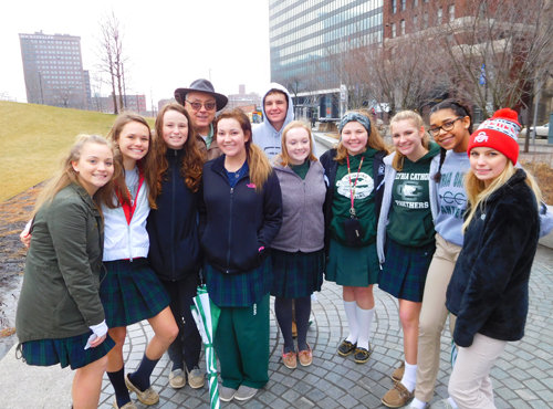 Students from Lake Erie Catholic brave the Cleveland chilly weather to advocate for the unborn children and all vulnerable human beings