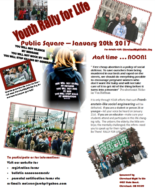 2017 Cleveland Youth Rally for Life flyer