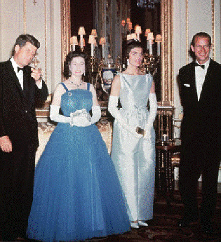 Queen Elizabeth with John F Kennedy