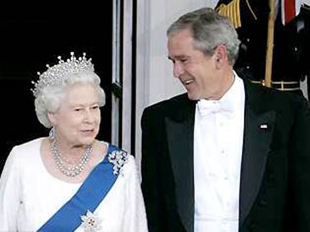 Queen Elizabeth with George W. Bush