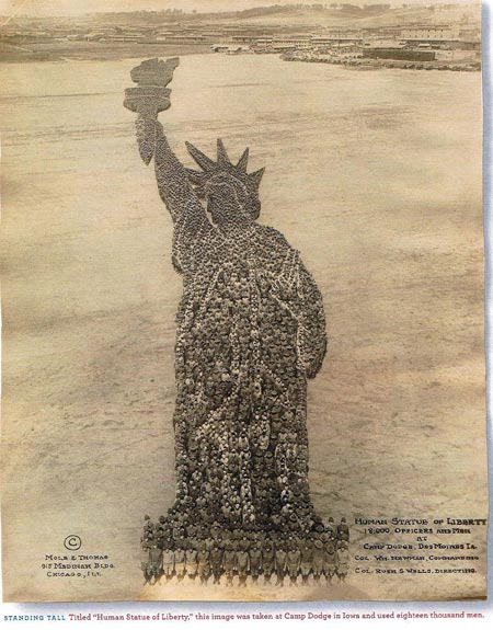 Human Statue of Liberty - 1918 photo from Camp Dodge Iowa
