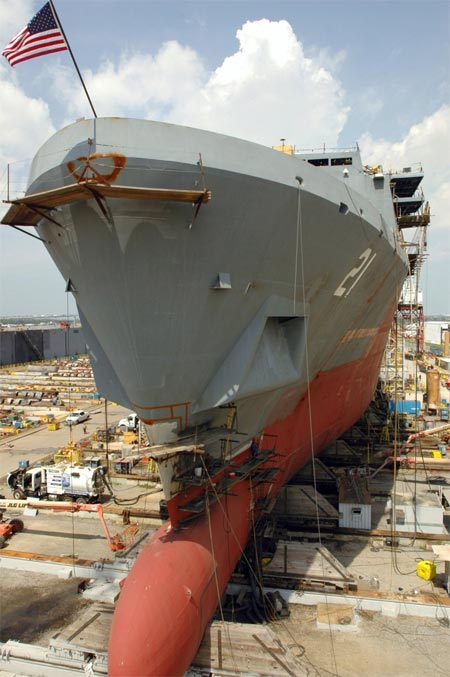 USS New York under construction at Northrop Grumman Ship Systems at Avondale, LA., 16 August 2006