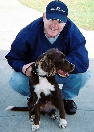 Brittany dog Abbey with Brian Blythe