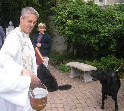 Father Chris Weber about to bless black lab Hogan