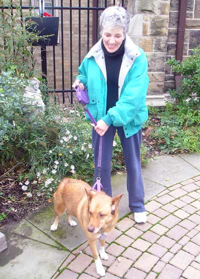 Rescue dog Cleo with owner Nancy