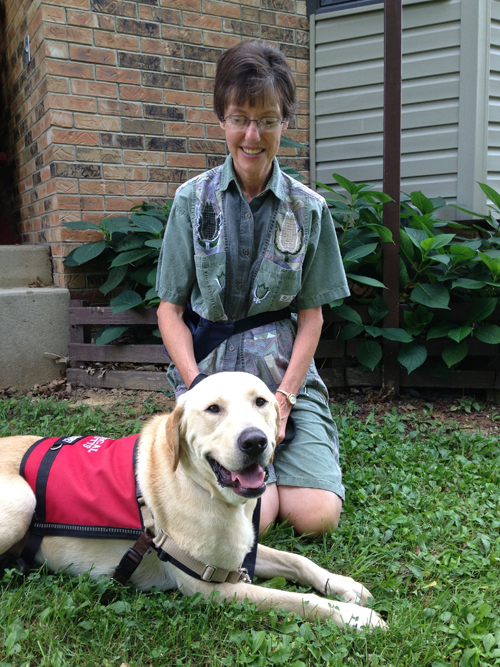 Jake the Diabetes Alert Yellow Labrador Retriever with Owner Sandy.