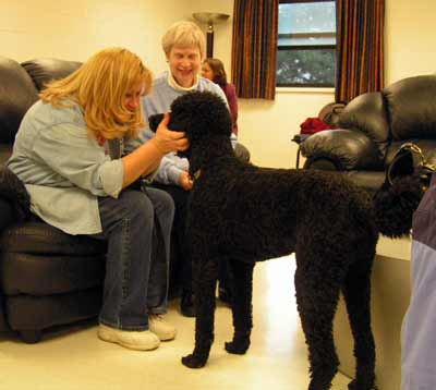 Linda Lindeman-DeCarlo  with Nicholas the poodle