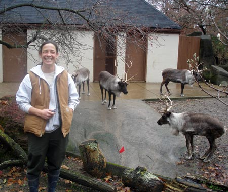 Cleveland Metroparks Zoo Aimee Brown with reindeer