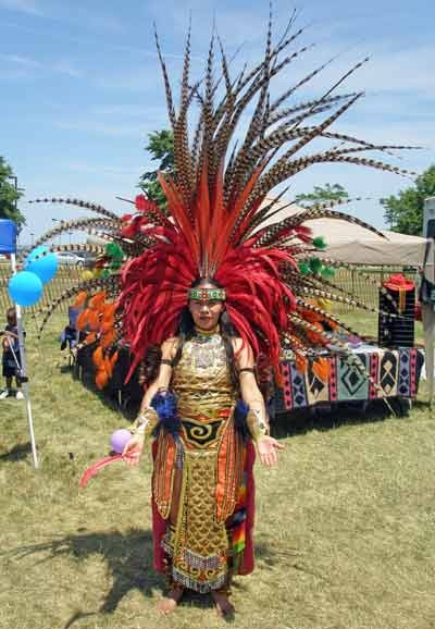 ateck Aztek Indian woman dancer - Cleveland Powwow