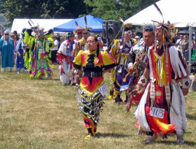 Native American Indians in regalia at Cleveland Powwow - Grand Entry