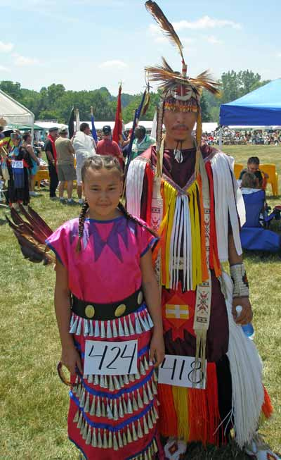 Native American Indians in full regalia  at the Cleveland Powwow