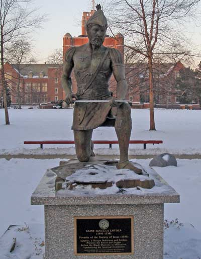 Saint Ignatius statue at John Carroll University