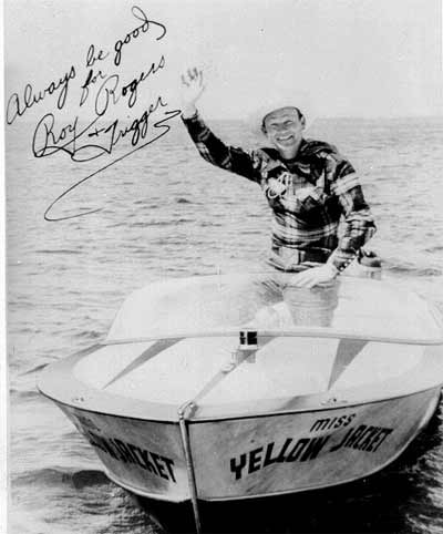 Roy Rogers on his 1959 Yellow Jacket Boat