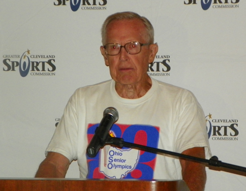 George Riser speaking at the National Senior Game event