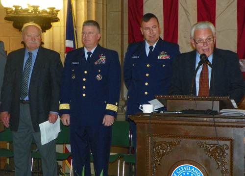 John Cimperman, Rear Admiral Fred Midgette, Commander Jeffrey Plummer and Tom Sweeney