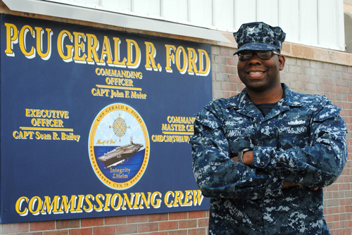 Petty Officer Second Class Dameon Smith is a legalman aboard Pre-Commissioning Unit Gerald R. Ford.