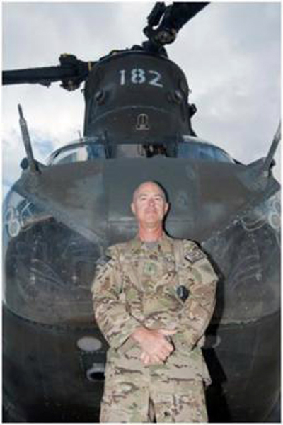 U.S. Army Chief Warrant Officer 2 Blaine Wyckoff, B Company, 3rd Battalion, 238th Aviation, CH-47 Chinook helicopter pilot, a native of Akron, Ohio, who has worked in the aviation field as an enlistee in the Ohio Air National Guard, as an officer and a warrant officer stands with his favorite aircraft, a CH-47 Chinook helicopter, on his final deployment of a 40-year career at Forward Operating Base Salerno, Afghanistan, Oct. 20, 2012 (U.S. Army photo by Sgt. Duncan Brennan, 101st CAB PAO)