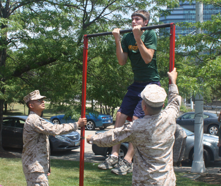 Chin ups at Marine Week in Cleveland