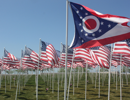 Over 400 US flags at Marine Week in Cleveland Ohio