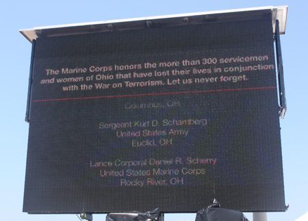Scrolling scoreboard of Ohio military killed in action