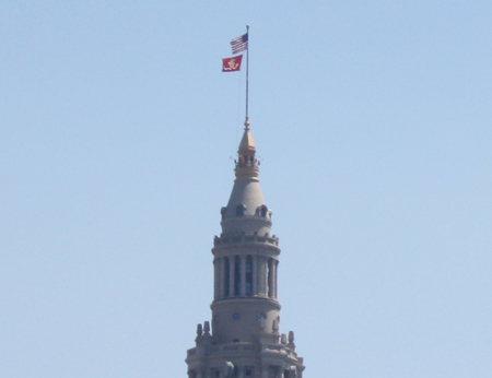 Marine Corps flag flying over Terminal Tower