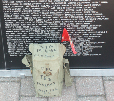 PFC Ted McElroy at Vietnam Wall