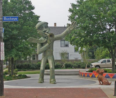 Urban Art Jazz man statue at East 118th and Buckeye in Cleveland Ohio