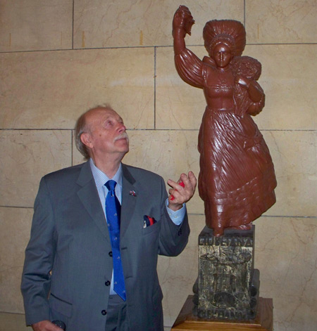August Pust and the Slovenian Lady statue wood carving in Cleveland City Hall