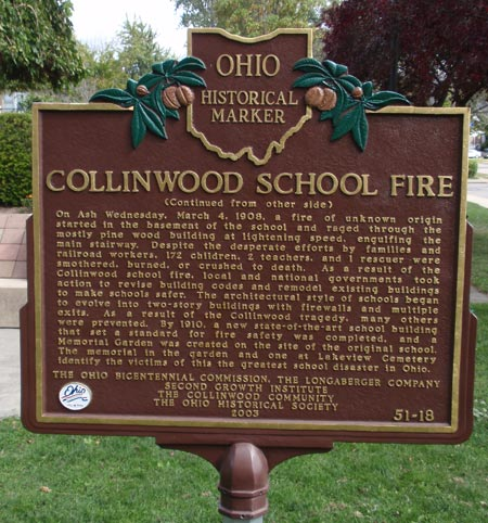 Collinwood School Fire Ohio Historical Marker - back