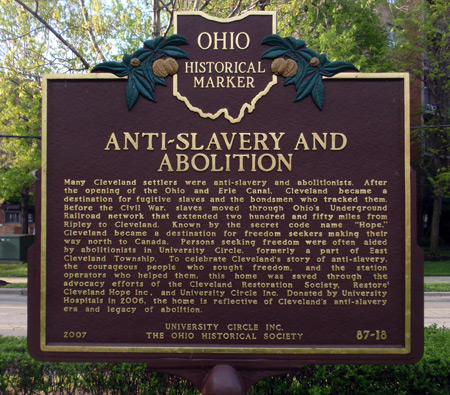 Anti-slavery and Abolitionist - marker for Cozad-Bates House