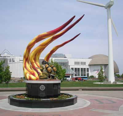 Cleveland Fire Fighters Memorial at the Great Lakes Science Center
