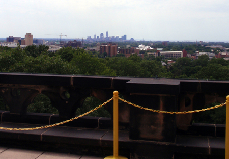 Cleveland skyline from roof of the President James A. Garfield Monument