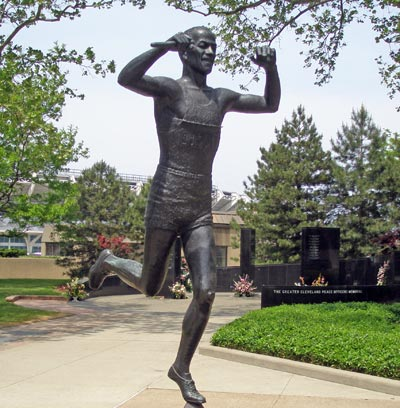 Jesse Owens Olympic Champion Statue In Cleveland Ohio