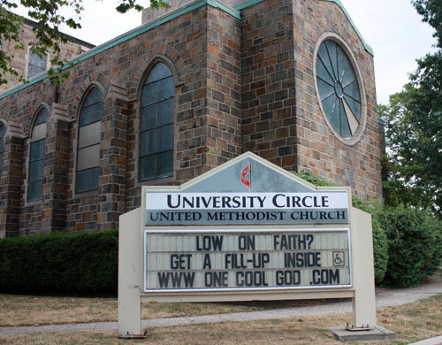 University Circle United Methodist Church sign - Holy Oil Can Church - photo by Dan Hanson