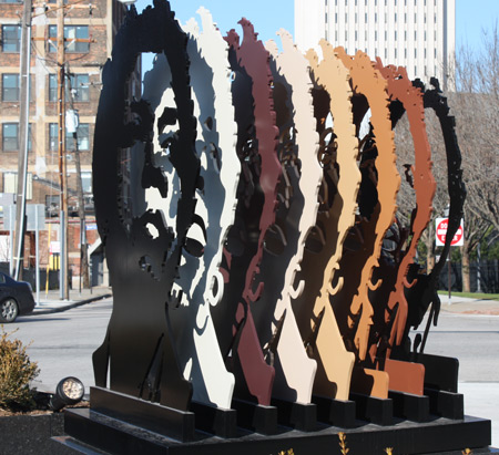 Stephanie Tubbs Jones sculpturet at RTA station in Cleveland