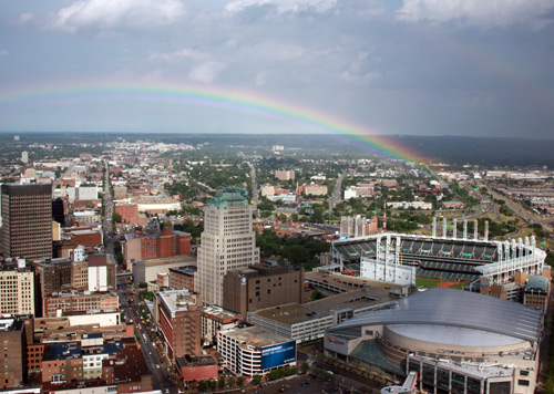 Rainbow over Cleveland - Photo by Dan Hanson from Cleveland's Terminal Tower Observation Deck