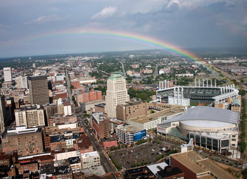 Rainbow over Cleveland from the Terminal Tower Observation Deck - photo by Dan Hanson