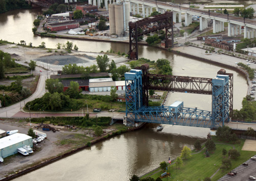Cuyahoga River and Flats bridges - Photo by Dan Hanson from Cleveland's Terminal Tower Observation Deck
