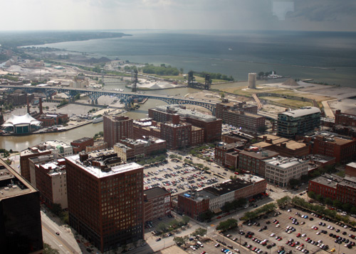 Cuyahoga River and Lake Erie - Photo by Dan Hanson from Cleveland's Terminal Tower Observation Deck