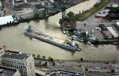 Boat on the Cuyahoga River Photo by Dan Hanson taken from the Terminal Tower Observation Deck