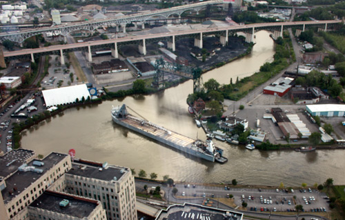 Boat maneuvering the crooked Cuyahoga River from the Terminal Tower Observation Deck - photo by Dan Hanson