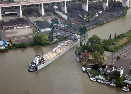 Boat on the Cuyahoga River - Photo by Dan Hanson taken from the Terminal Tower Observation Deck