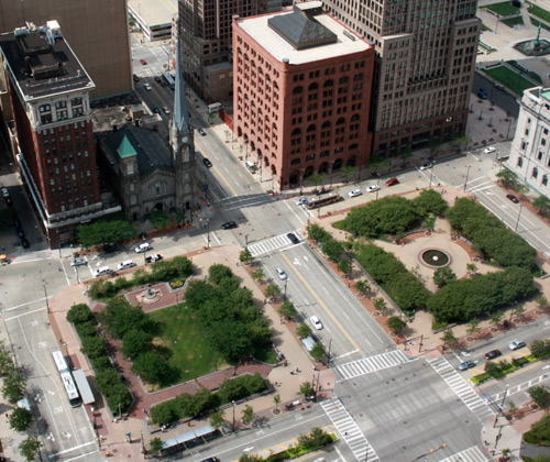 Northern quadrants of Public Square and Old Stone Church from the Terminal Tower Observation Deck - photo by Dan Hanson