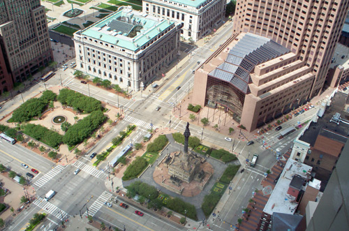 2 Eastern quadrants of Public Square from the Terminal Tower Observation Deck - photo by Dan Hanson