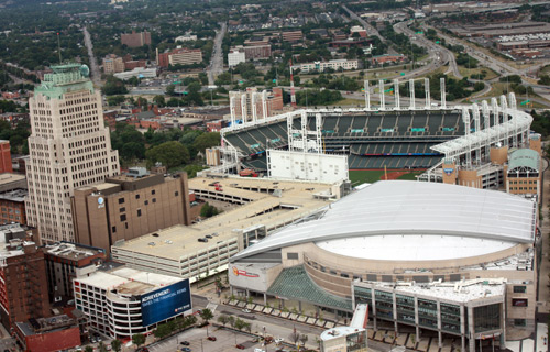Quicken Loans Arena and Progressive Field - Photo by Dan Hanson from Cleveland's Terminal Tower Observation Deck