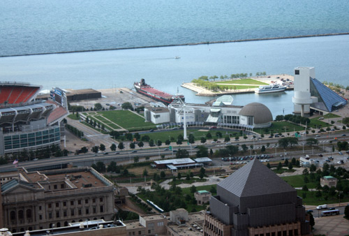 Great Lakes Science Center and Rock and Roll Hall of Fame and Museum from the Terminal Tower Observation Deck - photo by Dan Hanson