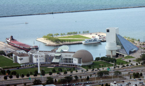 Great Lakes Science Center and Rock and Roll Hall of Fame - Photo by Dan Hanson from Cleveland's Terminal Tower Observation Deck