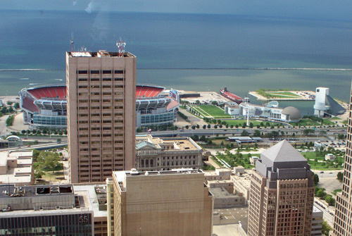 Browns Stadium - Photo by Dan Hanson from Cleveland's Terminal Tower Observation Deck