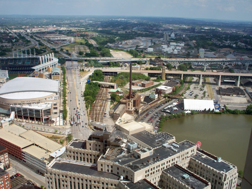 Quicken Loans Arena and Cuyahoga River - Photo by Dan Hanson from Cleveland's Terminal Tower Observation Deck